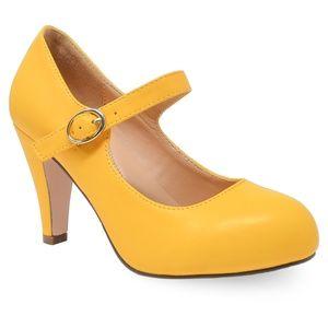 🛍 Chase & Chloe Women's Yellow Comfort Strap Heel